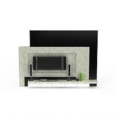 现代大理石电视柜背景墙模型3d模型