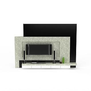 现代大理石电视柜背景墙3d模型