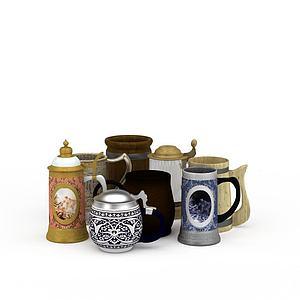 茶杯水杯组合模型