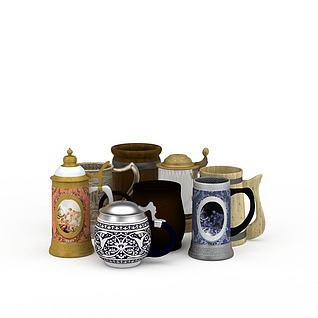 茶杯水杯组合3d模型