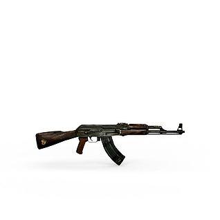 AK47机关枪3d模型