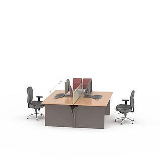 现代电脑桌办公桌椅组合3d模型3d模型