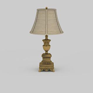 复古雕花台灯3d模型