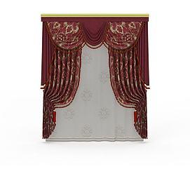 大红印花窗帘模型