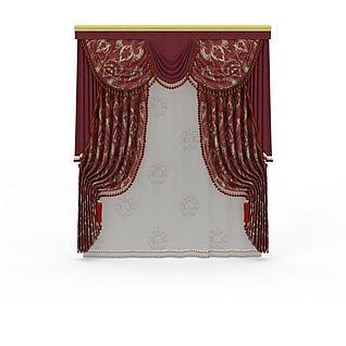 大红印花窗帘3d模型