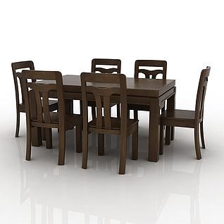 精品实木餐桌餐椅组合3d模型3d模型