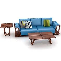 北欧实木沙发茶几组合3D模型3d模型