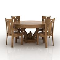 中式实木餐桌餐椅组合3D模型3d模型
