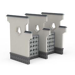 徽派建筑景墙模型3d模型
