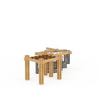 园林廊架3d模型