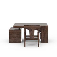精品实木书桌书椅套装模型3d模型