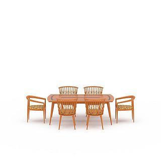 现代实木印花餐桌餐椅组合3d模型