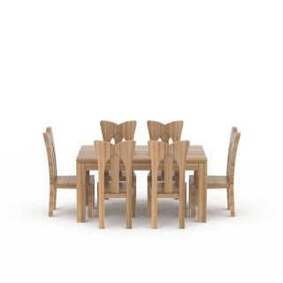 现代实木餐桌餐椅3d模型