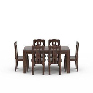 中式餐桌<font class='myIsRed'>餐椅</font>组合3d模型