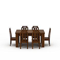 精品实木餐桌餐椅3D模型3d模型