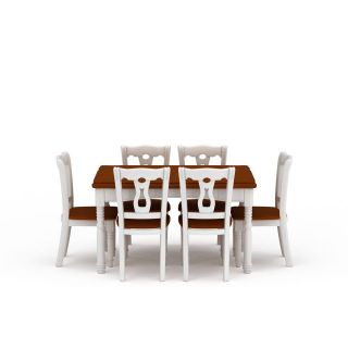 现代白色实木餐桌餐椅组合3d模型