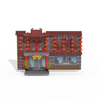 中式酒店餐厅门头3d模型