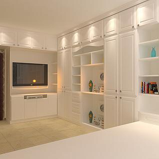 精品白色实木整体衣柜3d模型