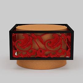 中式拼色雕花吊灯3d模型