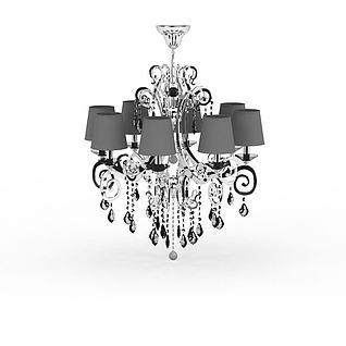 现代灰色水晶吊灯3d模型3d模型