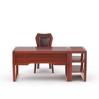 中式红木电脑桌椅3d模型3d模型