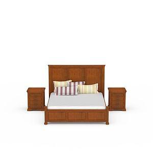 现代实木双人床模型