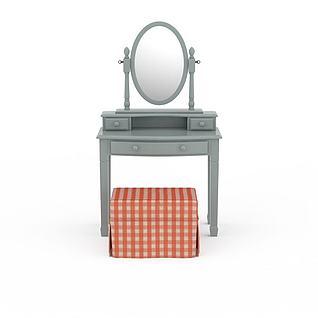 简约梳妆台桌椅组合3d模型3d模型