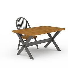 现代实木书桌书椅组合模型3d模型