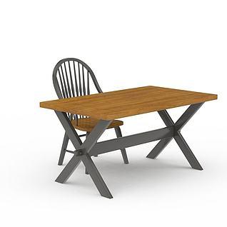 现代实木书桌书椅组合3d模型3d模型