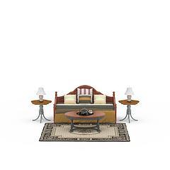 精品实木沙发床茶几套装模型3d模型