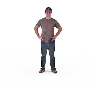 写实人物青年男子3d模型