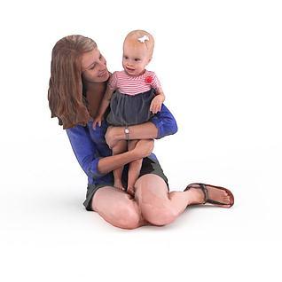 写实人物女人小孩3d模型