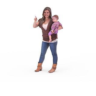 写实人物女人小孩婴儿3d模型