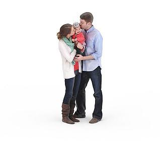 写实人物三口之家男人女人孩子3d模型3d模型
