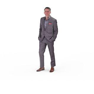 写实人物欧美商务男人3d模型