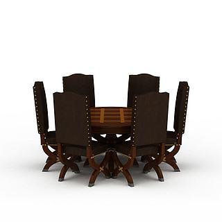 现代精品餐桌餐椅组合3d模型