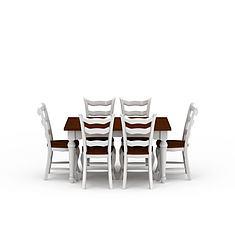 现代白色实木餐桌餐椅套装3D模型3d模型