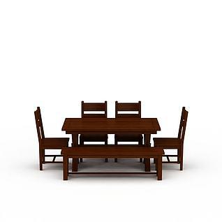 中式餐桌餐椅套装3d模型3d模型