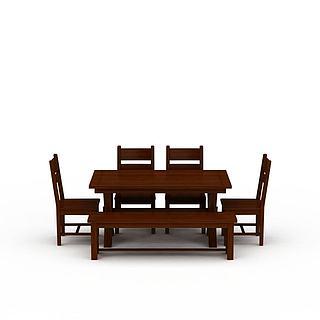 中式<font class='myIsRed'>餐桌</font>餐椅套装3d模型