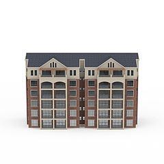 欧式居民楼模型3d模型