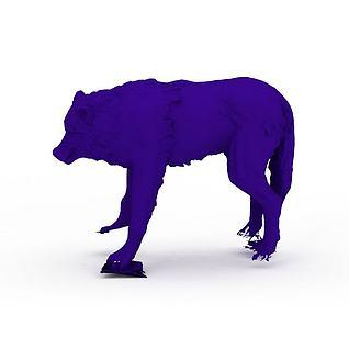 紫色狼饰品3d模型