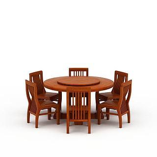 中式圆形<font class='myIsRed'>餐桌</font>餐椅3d模型