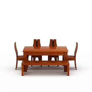 中式实木餐桌餐椅3d模型3d模型