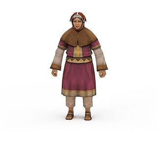 npc游戏人物老妇人3d模型
