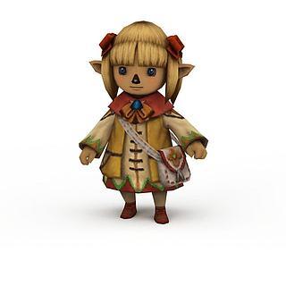 npc游戏人物小女孩3d模型