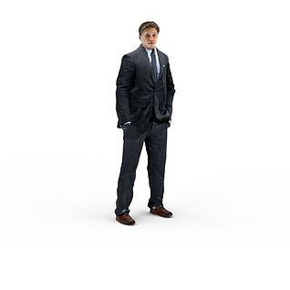 写实人物西装男人3d模型