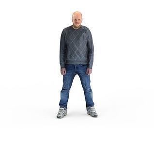 写实人物光头男人3d模型
