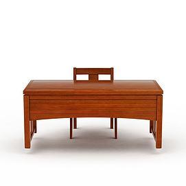 现代实木写字台桌椅组合3d模型