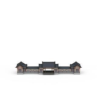 古建大门连廊3d模型