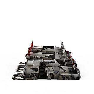 红色警戒建筑物游戏场景3d模型